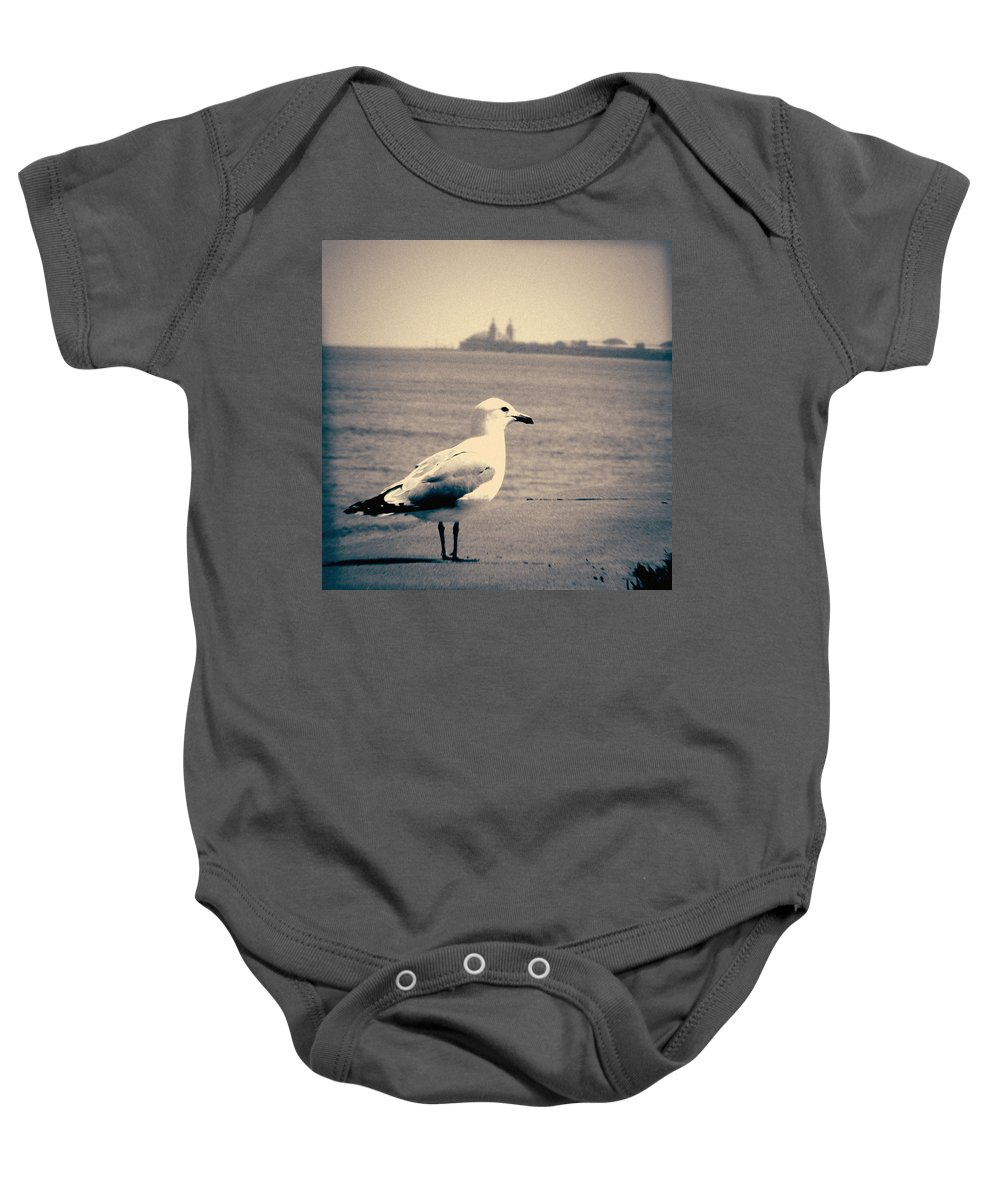 Chicago Baby Onesie featuring the photograph Chicago Seagull by Kyle Hanson
