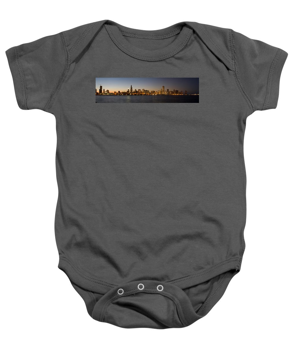 Chicago Baby Onesie featuring the photograph Chicago Skyline Panorama by Steve Gadomski