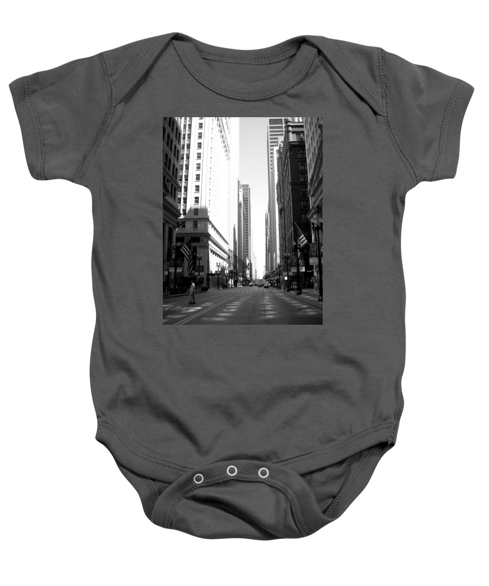Chicago Baby Onesie featuring the photograph Chicago Street With Flags B-w by Anita Burgermeister