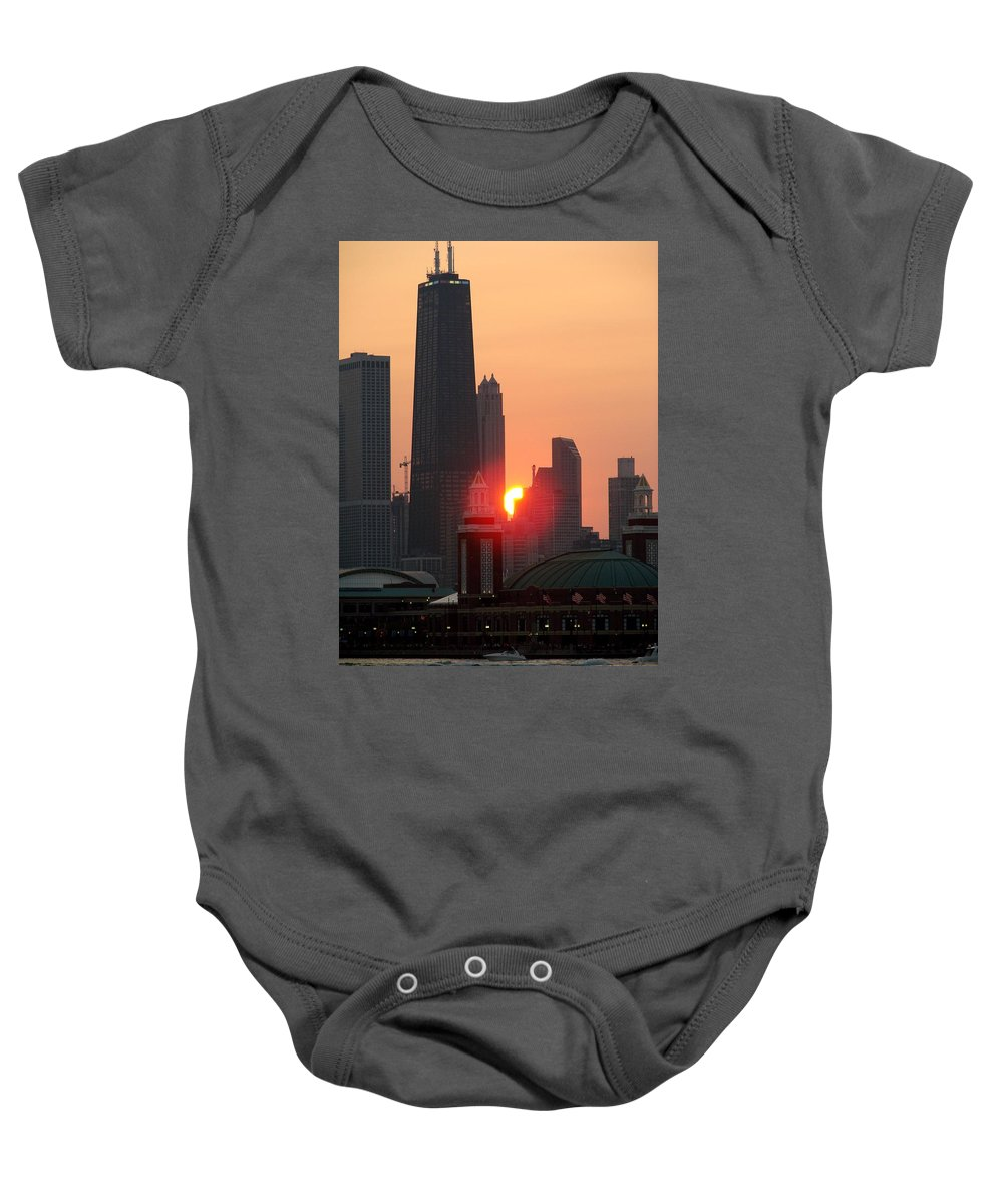 Photography Baby Onesie featuring the photograph Chicago Sunset by Glory Fraulein Wolfe
