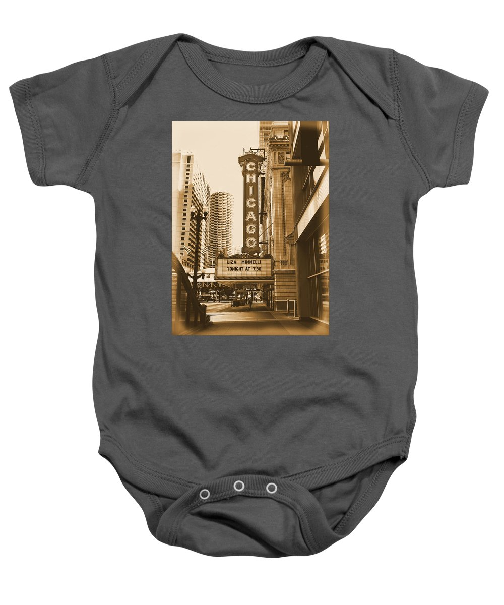 Chicago Theater Marquee Baby Onesie featuring the photograph Chicago Theater - 3 by Ely Arsha