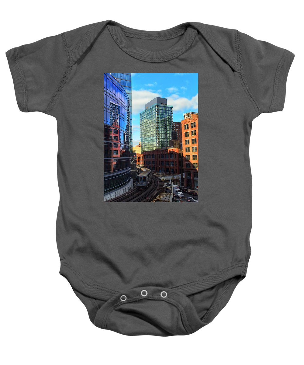 Chicago Baby Onesie featuring the photograph Chicago Train by Joseph Caban