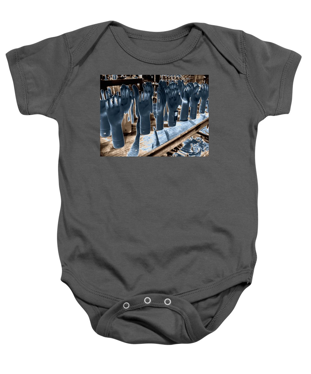Chicago Baby Onesie featuring the photograph Chicago Warehouse Hands by Kyle Hanson