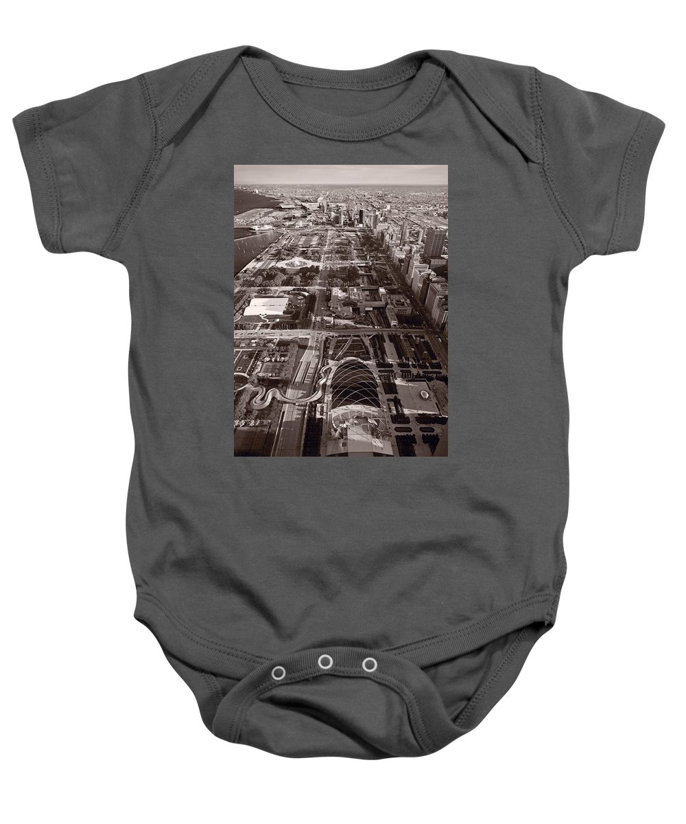 Aerial Baby Onesie featuring the photograph Chicagos Front Yard B W by Steve Gadomski