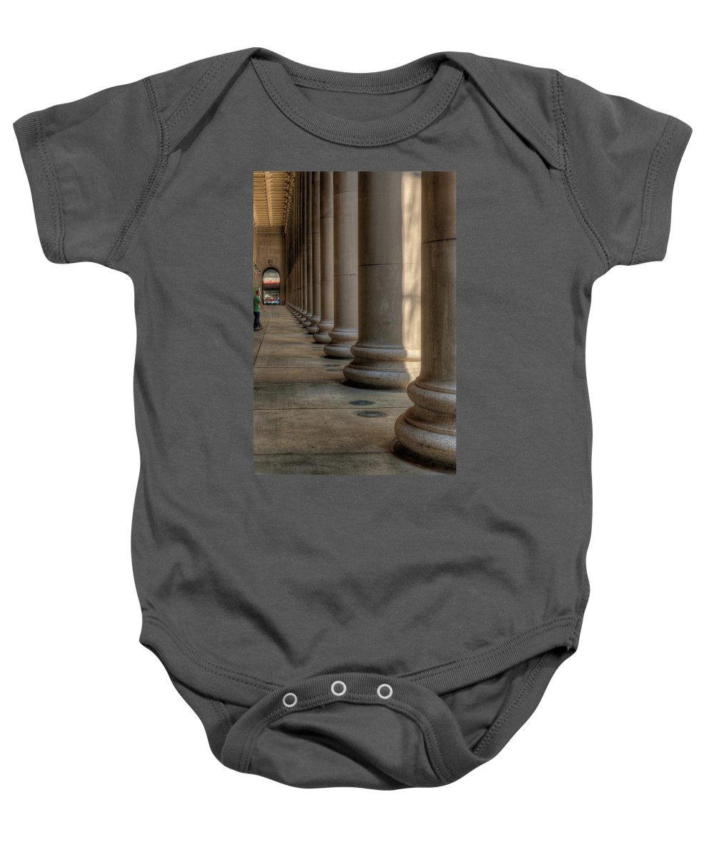 Chicago Baby Onesie featuring the photograph Chicagos Union Station Exterior by Steve Gadomski