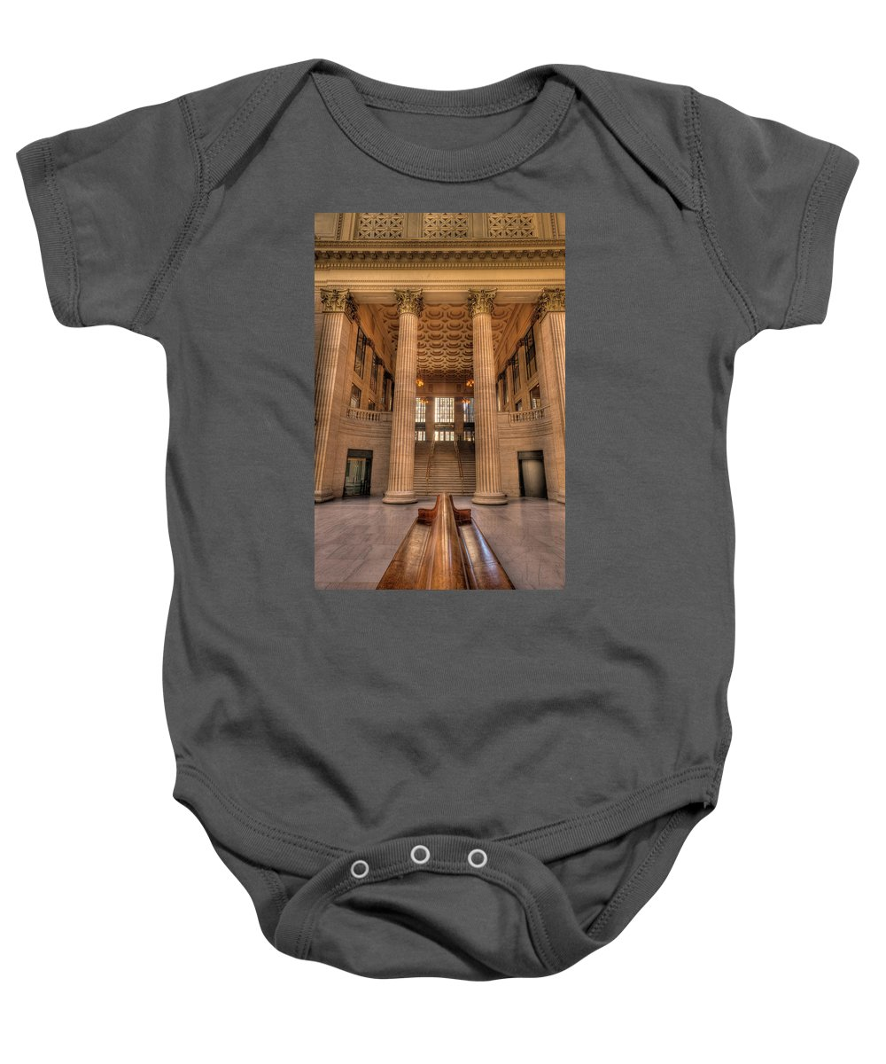 Chicago Baby Onesie featuring the photograph Chicagos Union Station Waiting Hall by Steve Gadomski