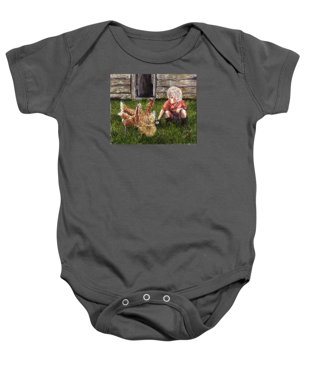Chickens Baby Onesie featuring the painting Chicken Feed by Arlene Wright-Correll