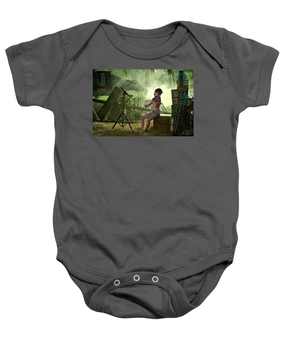 Violin Baby Onesie featuring the photograph Children Playing Violin In The Folk Style. by Somchai Sanvongchaiya
