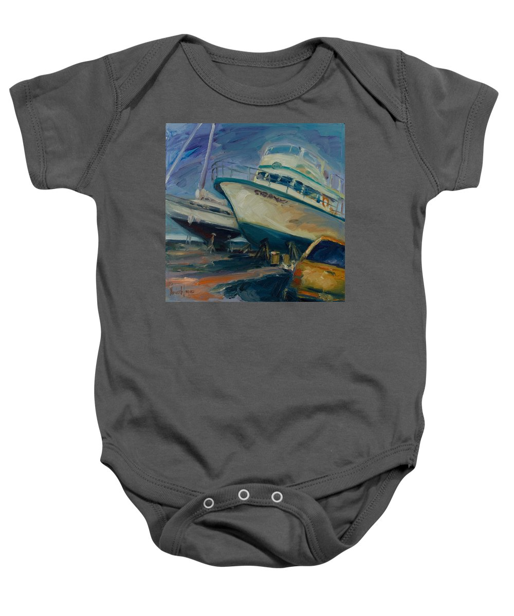 Boats Baby Onesie featuring the painting China Basin by Rick Nederlof