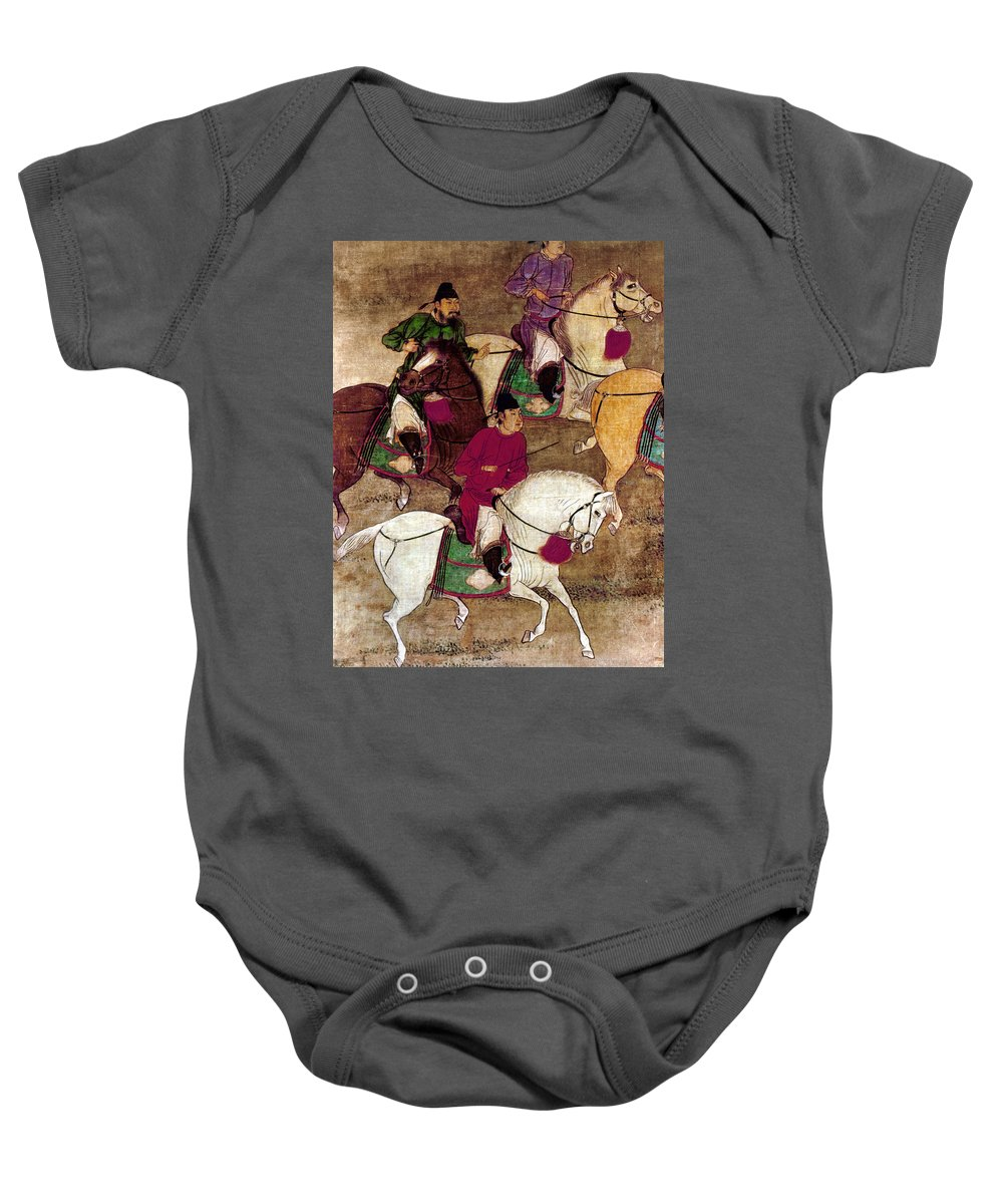 10th Century Baby Onesie featuring the photograph China: Horsemen by Granger