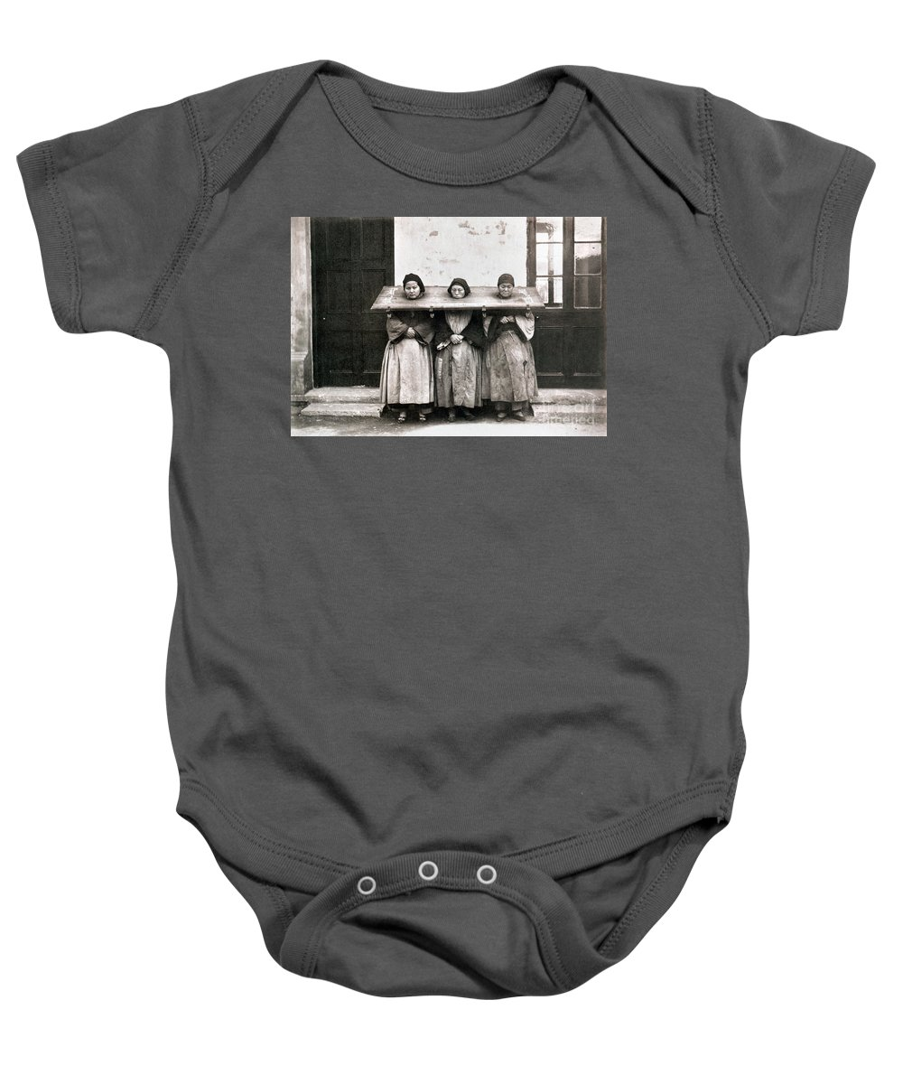 1907 Baby Onesie featuring the photograph China: Punishment, 1907 by Granger