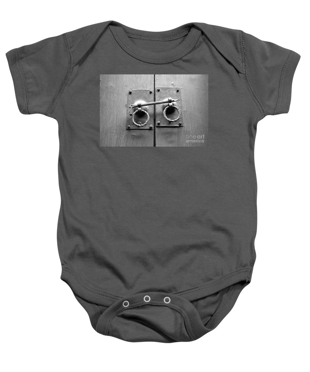 Door Baby Onesie featuring the photograph Chinese Door And Lock - Black And White by Carol Groenen