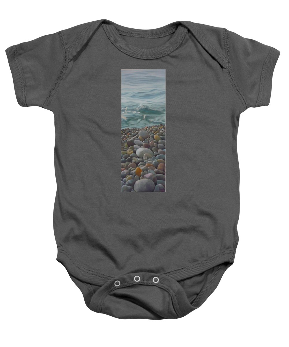 Sea Oil Pebbles Beach Stones Baby Onesie featuring the painting Chios Pebbles by Caroline Philp
