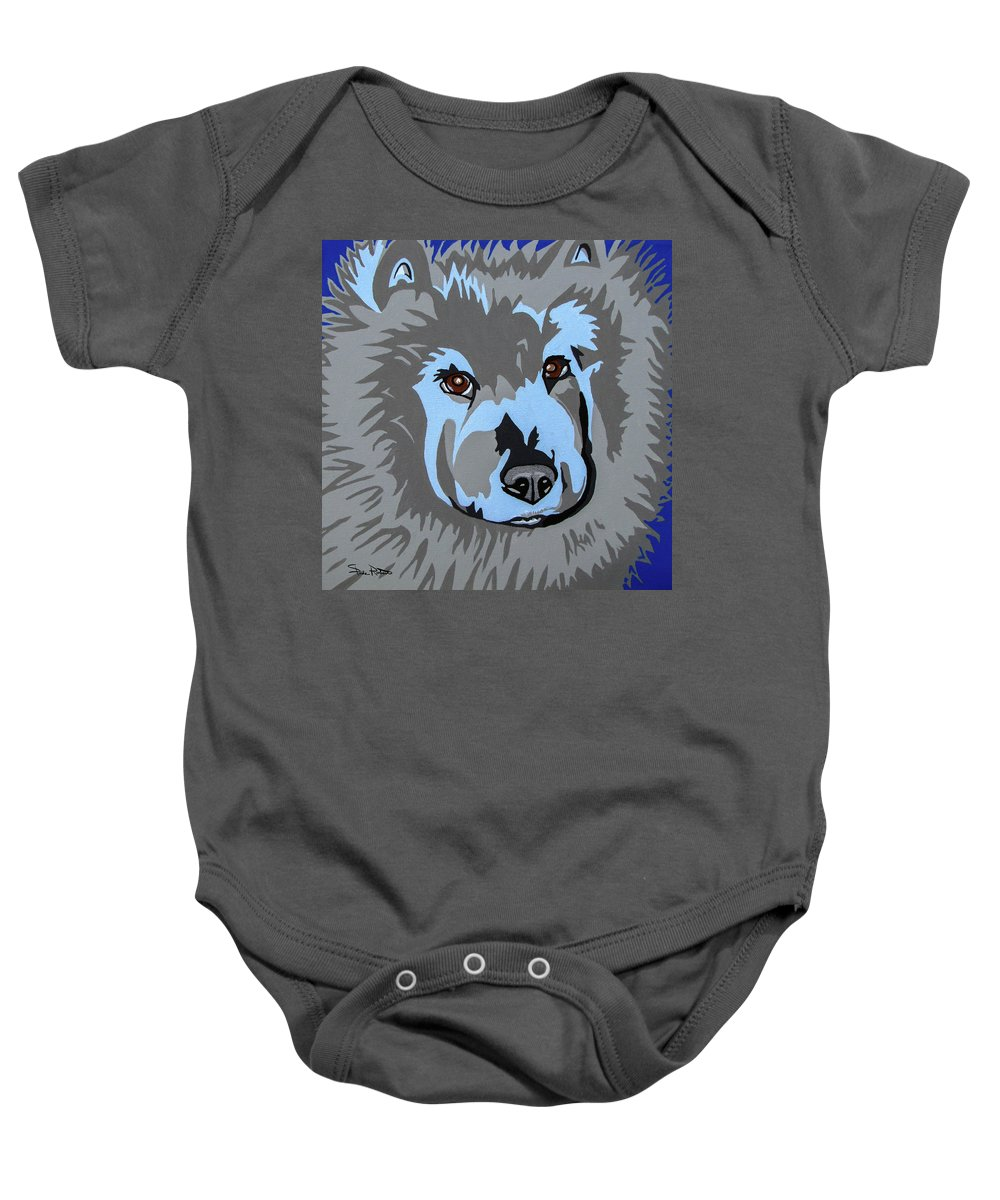 Chow Baby Onesie featuring the painting Chow Chow by Slade Roberts