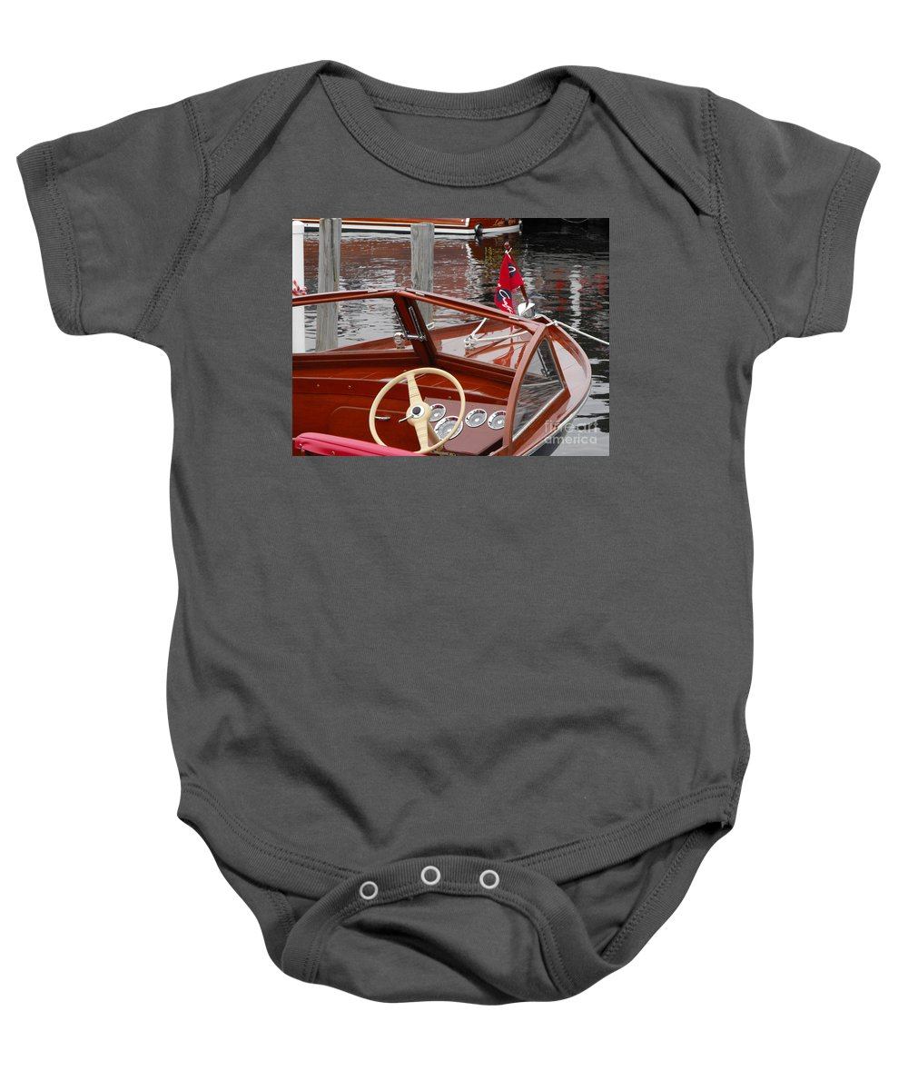 Wooden Boat Baby Onesie featuring the photograph Chris Craft Sea Skiff by Neil Zimmerman