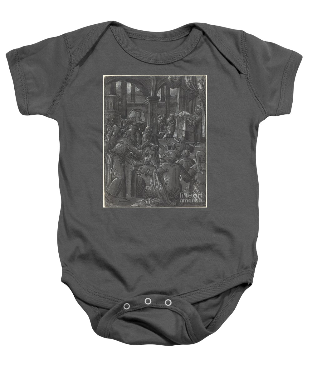 Baby Onesie featuring the drawing Christ Disputing With The Doctors by German 16th Century