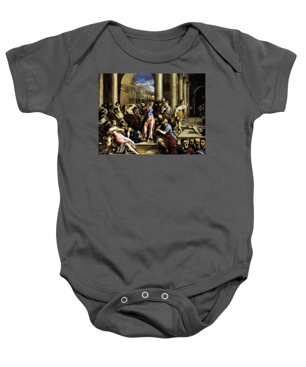 Christ Baby Onesie featuring the painting Christ Driving The Traders From The Temple 1576 by El Greco