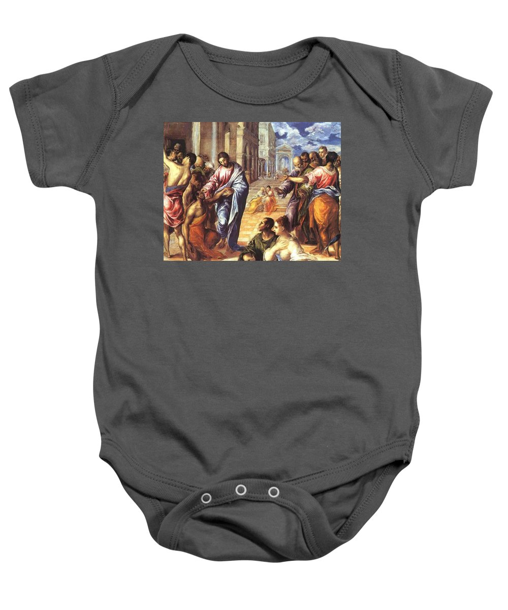 Christ Baby Onesie featuring the painting Christ Healing The Blind 1578 by El Greco