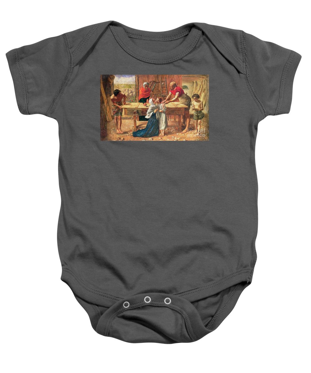 Christ In The House Of His Parents Baby Onesie featuring the painting Christ In The House Of His Parents by JE Millais and Rebecca Solomon