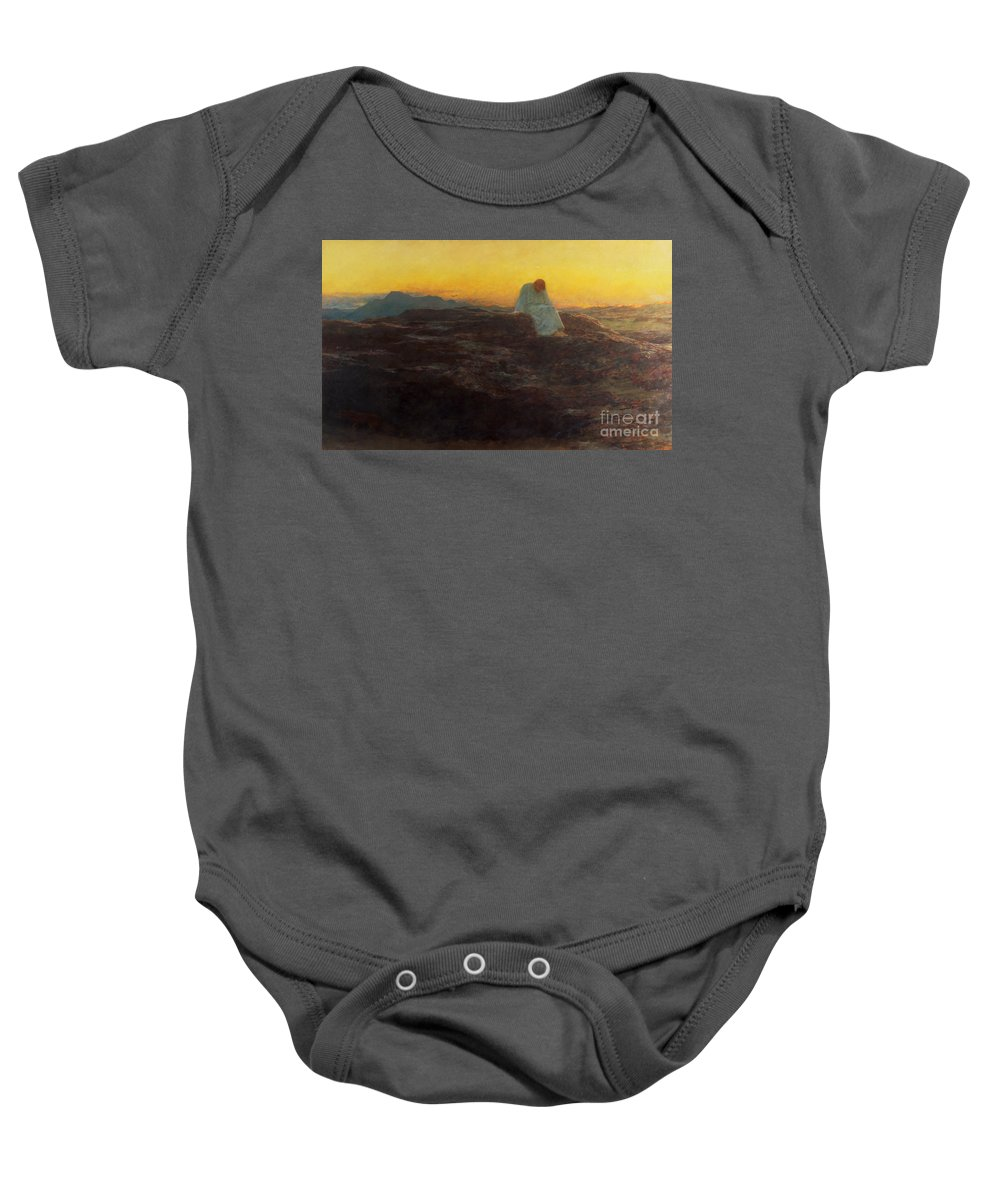Christ In The Wilderness Baby Onesie featuring the painting Christ In The Wilderness by Briton Riviere