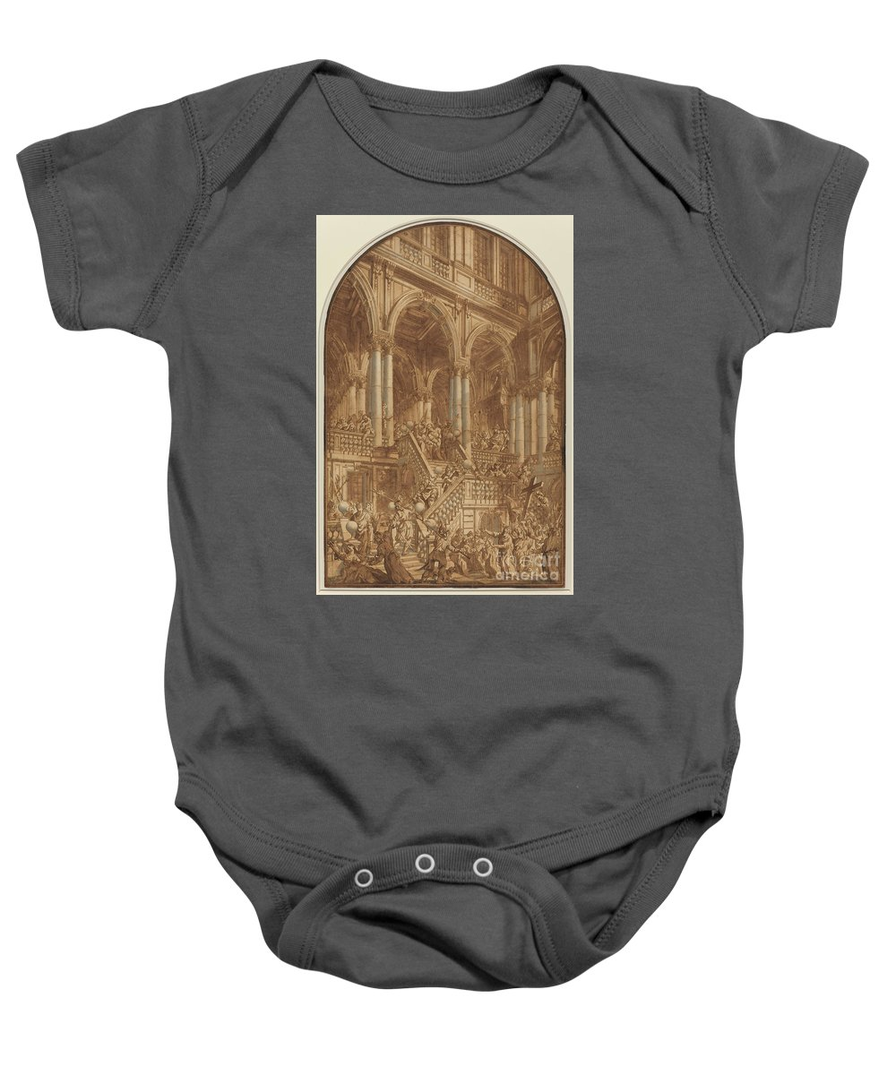 Baby Onesie featuring the drawing Christ Led Captive From A Palace by Giuseppe Galli Bibiena