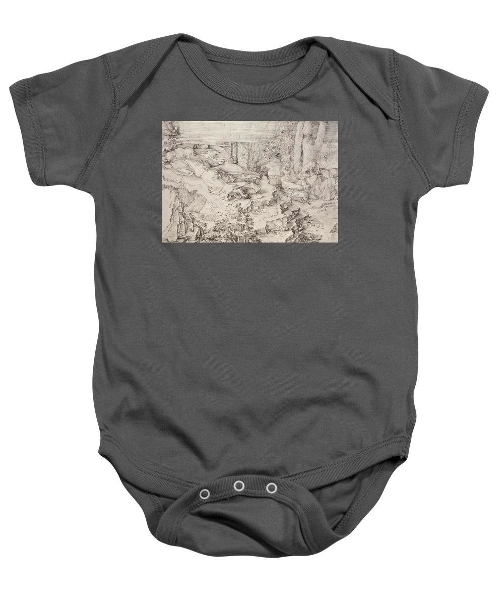 Christ Baby Onesie featuring the painting Christ On The Mount Of Olives 1521 by Durer Albrecht