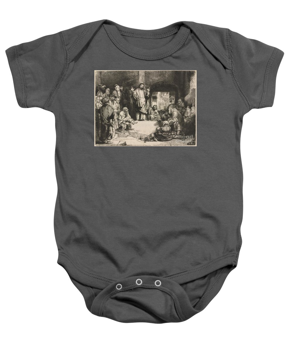 Baby Onesie featuring the drawing Christ Preaching (la Petite Tombe) by Rembrandt Van Rijn