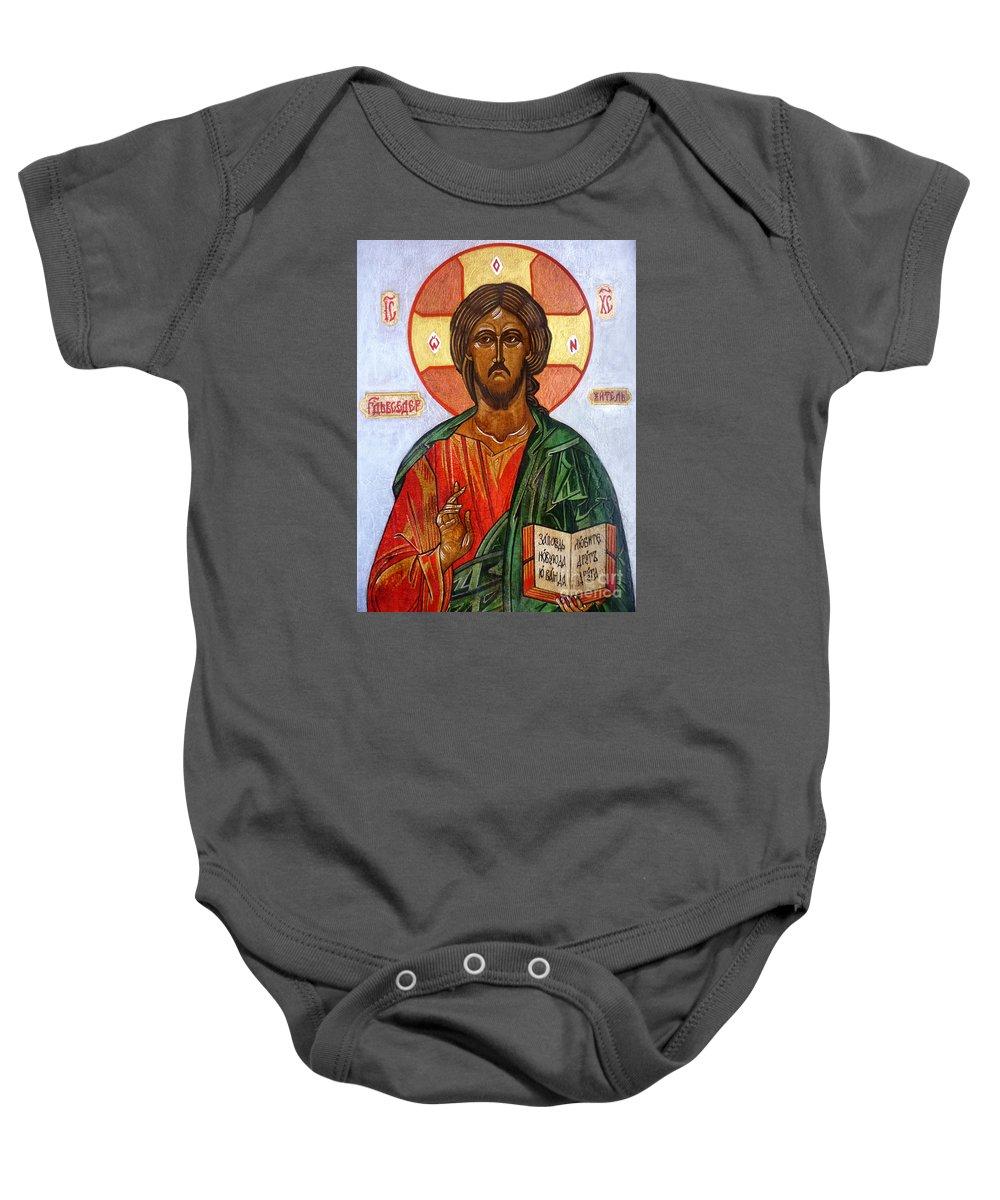 Christ The Pantocrator I Baby Onesie featuring the painting Christ The Pantocrator I by Ryszard Sleczka
