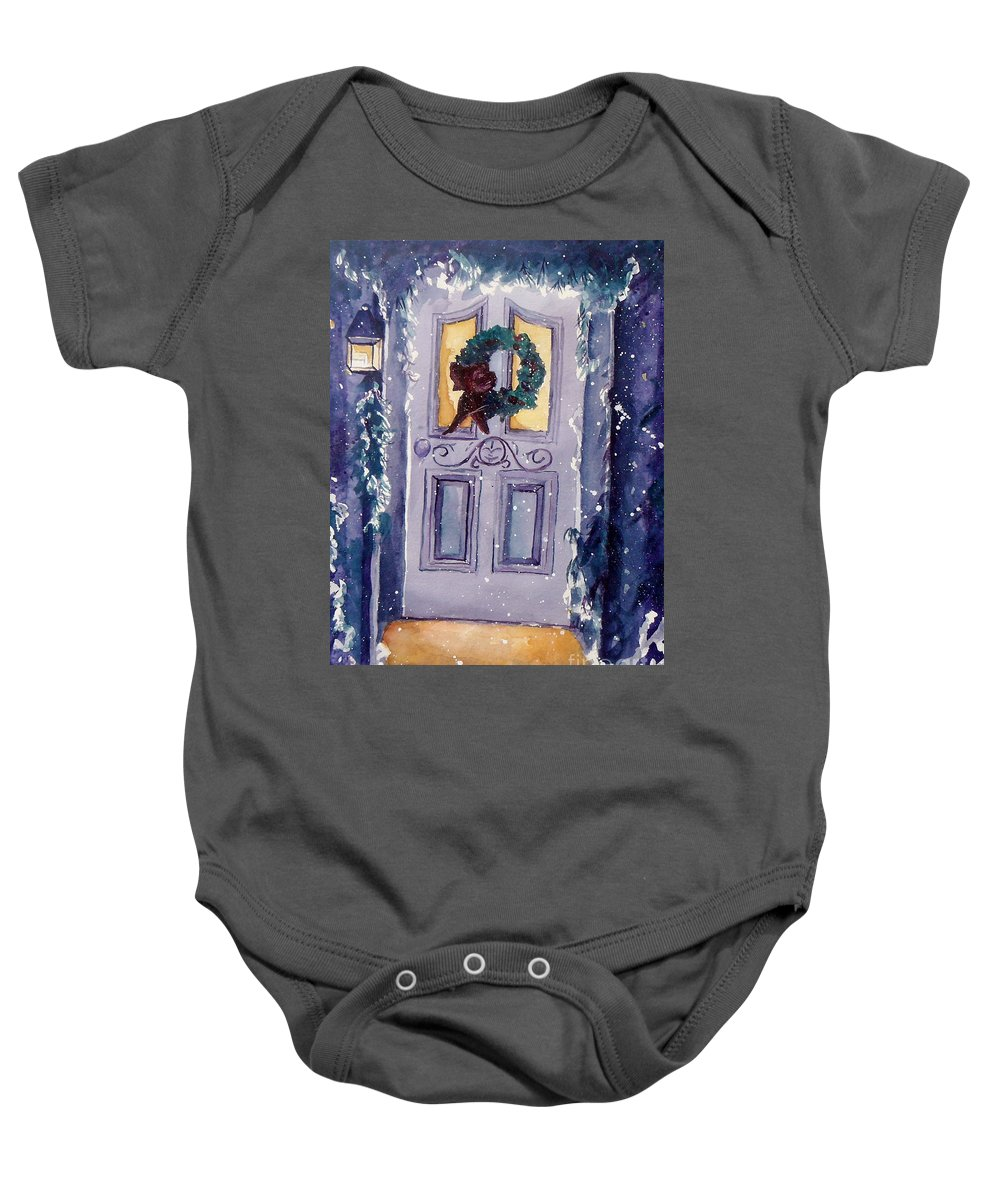 Holiday Scene Baby Onesie featuring the painting Christmas Eve by Jan Bennicoff