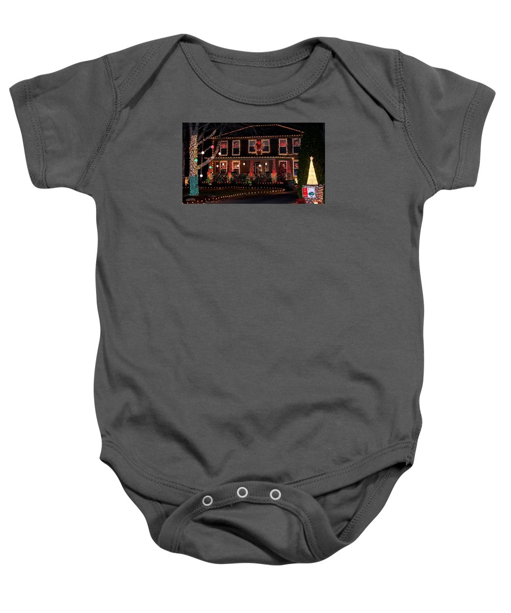 Christmas Baby Onesie featuring the photograph Christmas House-2 by Mina Thompson