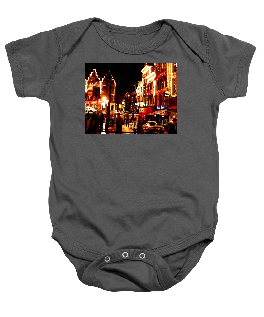 Night Baby Onesie featuring the photograph Christmas In Amsterdam by Nancy Mueller