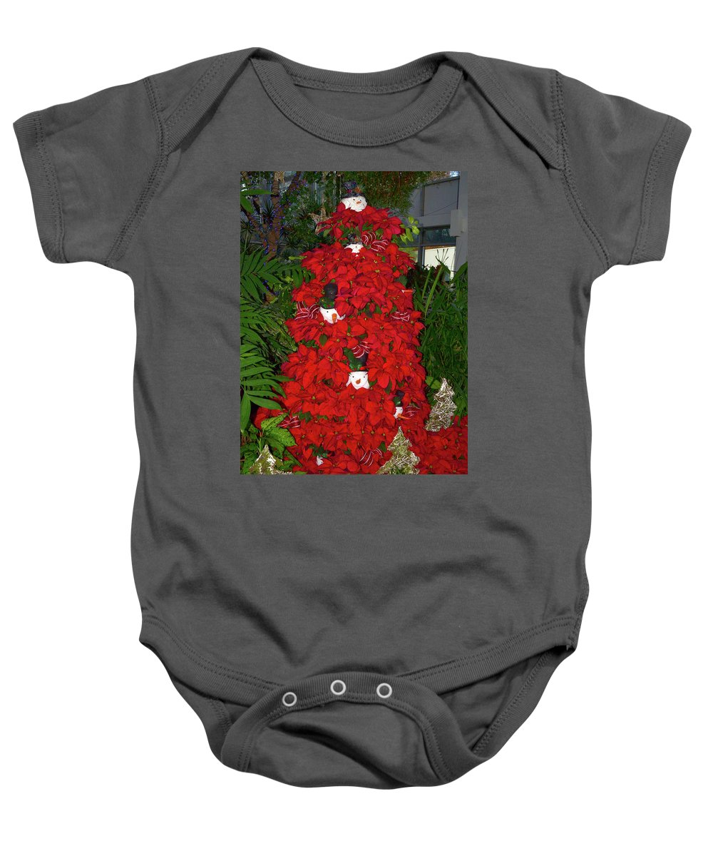Snowman Baby Onesie featuring the photograph Christmas Poinsettia Display 002 by George Bostian