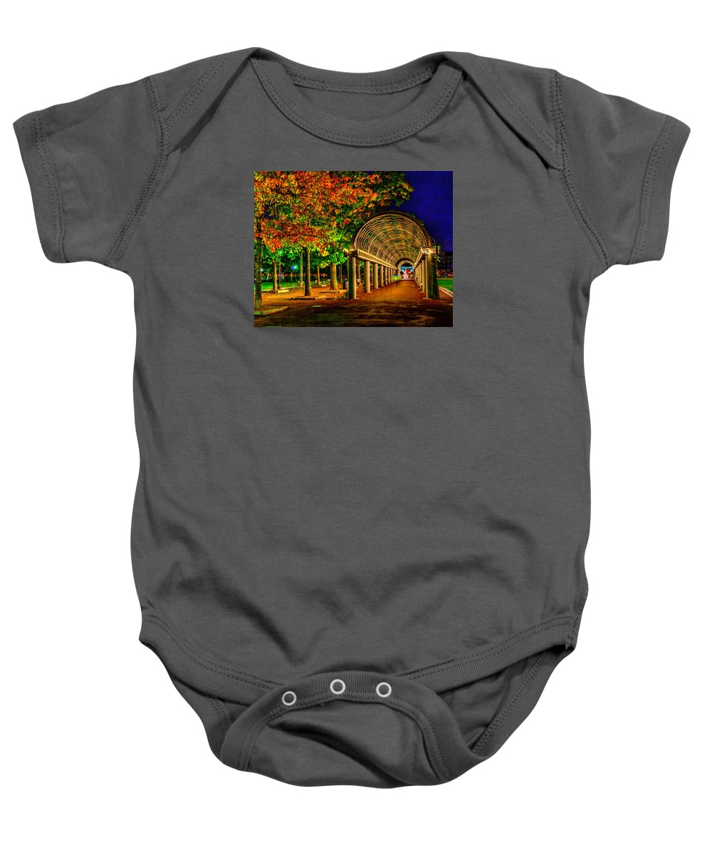 Boston Baby Onesie featuring the photograph Christopher Columbus Park 3766 by Jeff Stallard