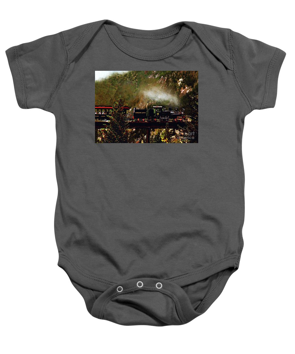 Americana Baby Onesie featuring the painting Chugging Across The Devil's Gate by RC DeWinter