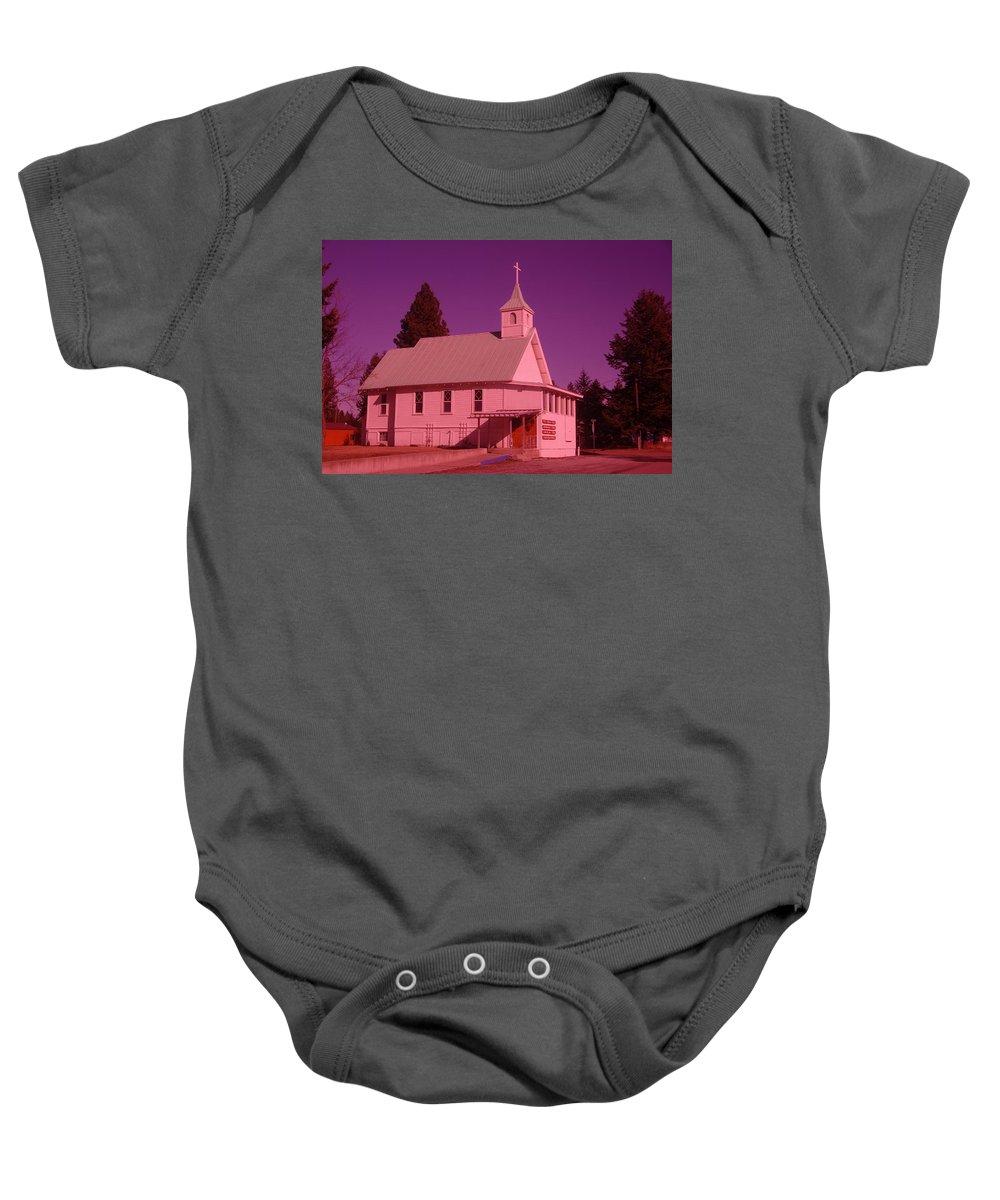 Churchs Baby Onesie featuring the photograph Church In Spirit Lake Idaho by Jeff Swan