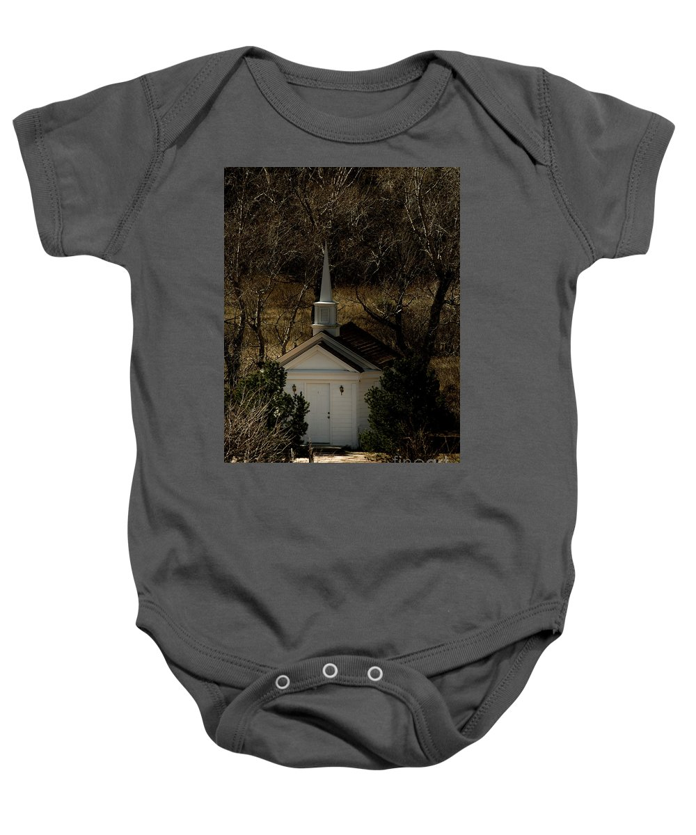 Colorado Springs Baby Onesie featuring the photograph Church In The Garden by Jennifer Mitchell