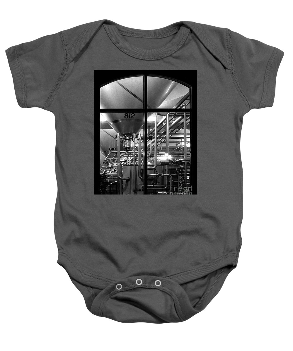 Black And White Baby Onesie featuring the photograph Church Of Modern Man by Peter Piatt