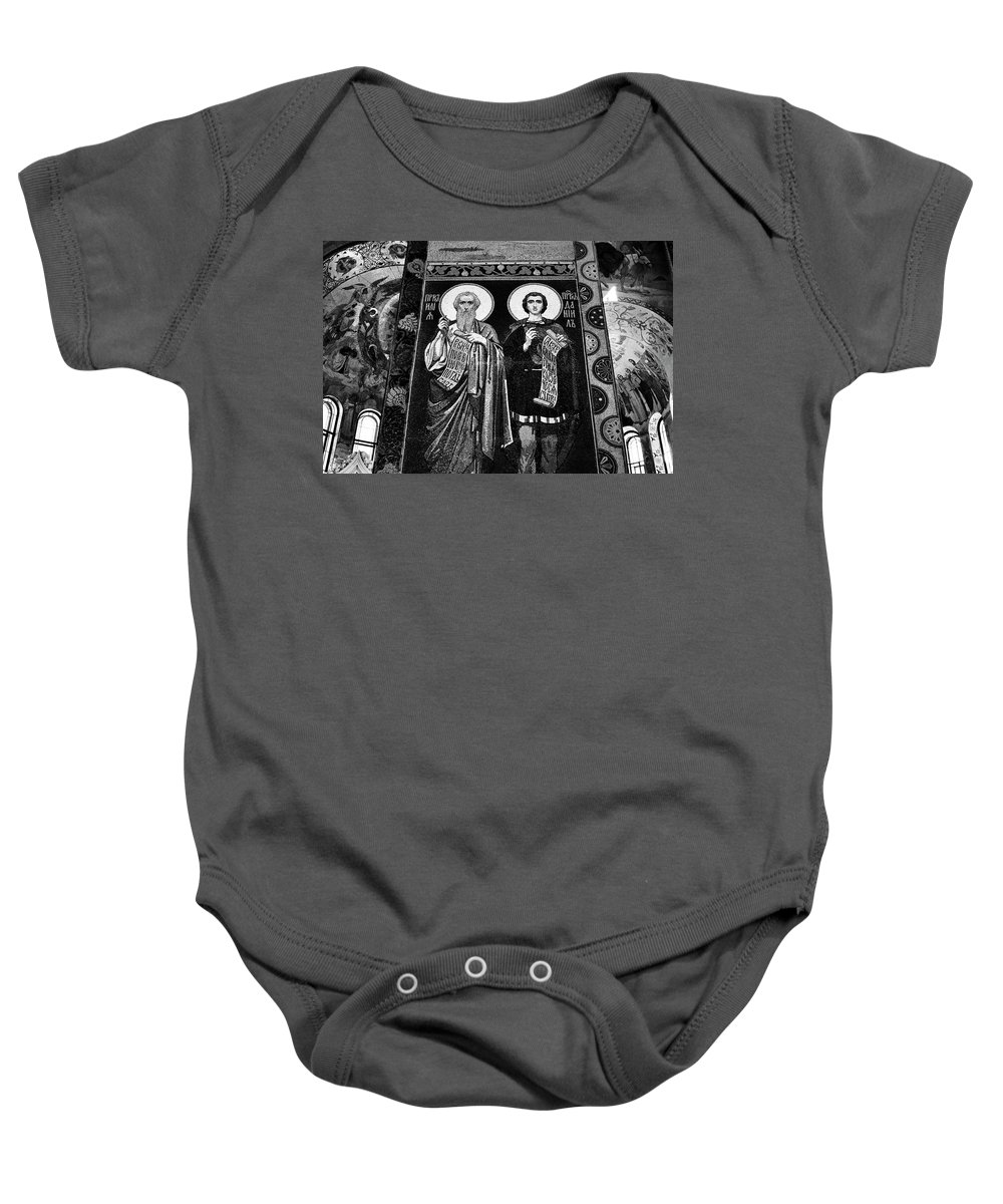 Saint Baby Onesie featuring the photograph Church Of The Saviour On Spilled Blood, Saint Petersburg #3.  Black And White by David Lyons