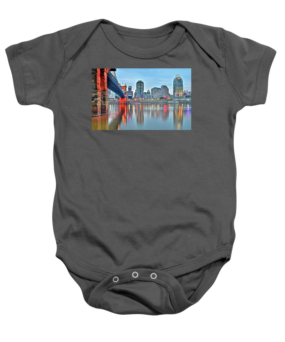 Cincinnati Baby Onesie featuring the photograph Cincinnati At Ground Level by Frozen in Time Fine Art Photography