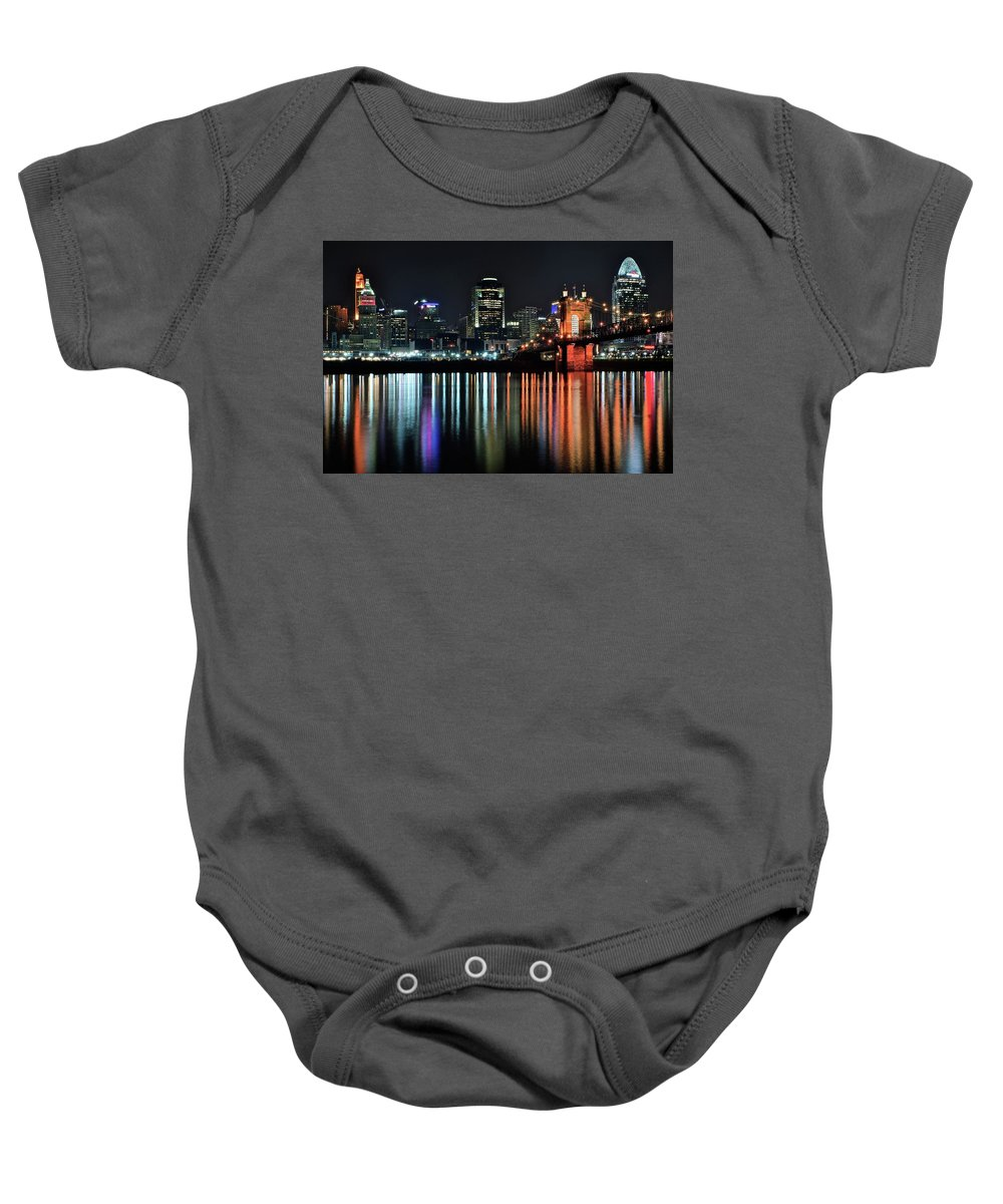 Cinci Baby Onesie featuring the photograph Cincinnati Lights The Ohio River by Frozen in Time Fine Art Photography