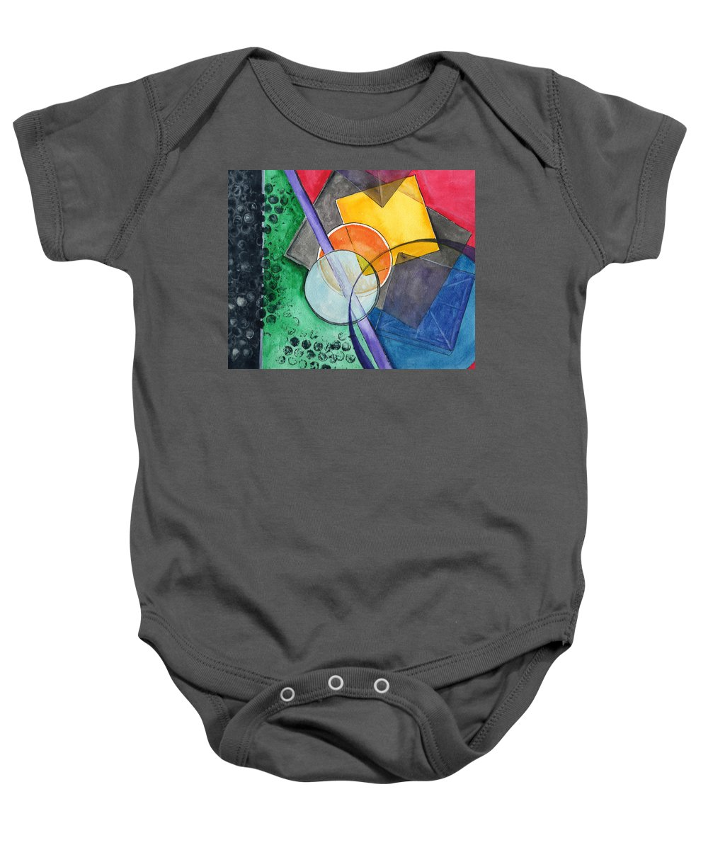 Watercolor Baby Onesie featuring the painting Circular Confusion by Brenda Owen