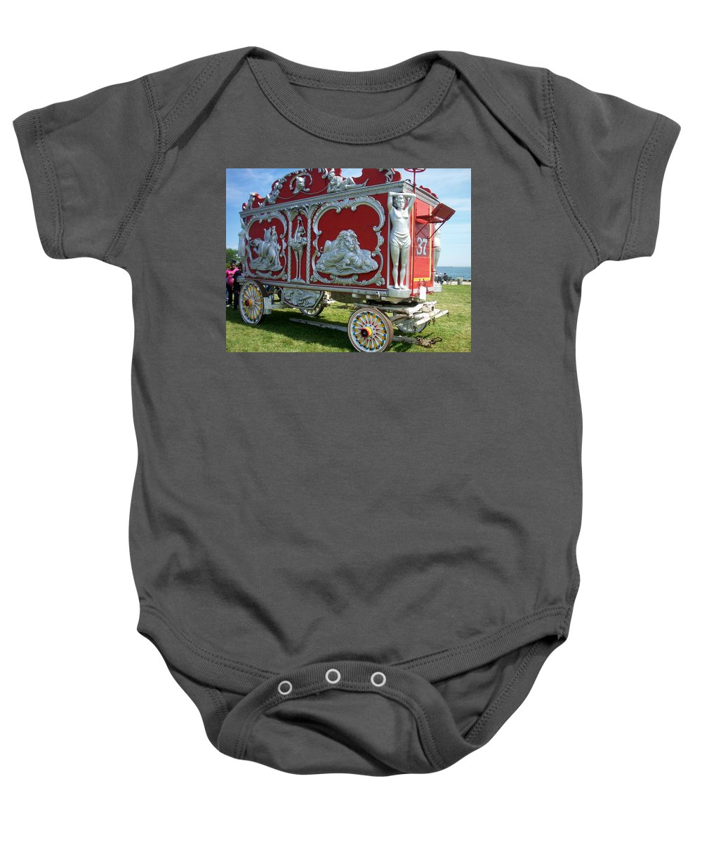 Circus Baby Onesie featuring the photograph Circus Car In Red And Silver by Anita Burgermeister