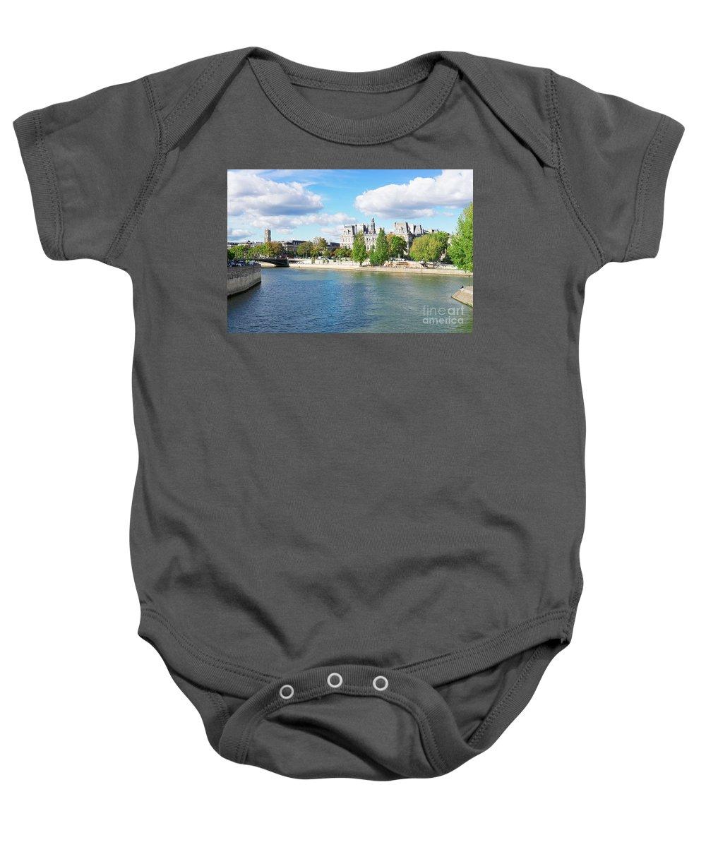 Paris Baby Onesie featuring the photograph Seine River Embankment by Anastasy Yarmolovich