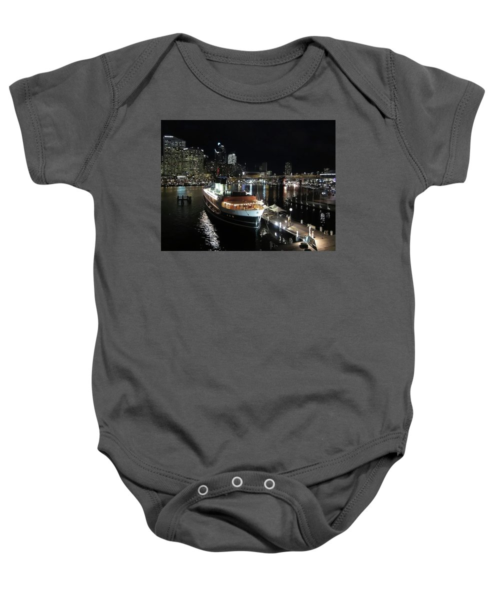 Darling Harbor Baby Onesie featuring the photograph City Lights by Douglas Barnard