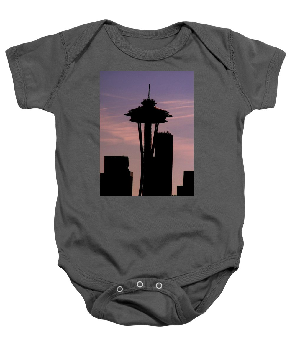 Seattle Baby Onesie featuring the digital art City Needle by Tim Allen