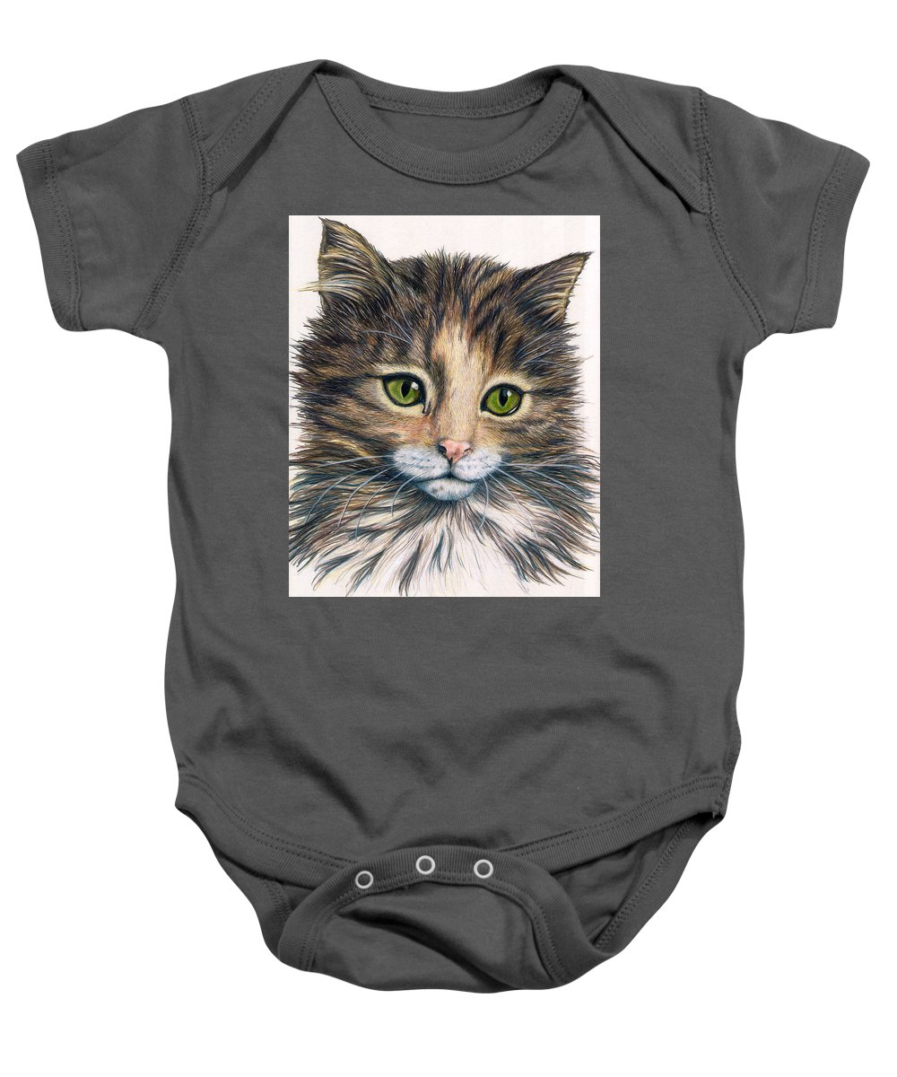 Cat Baby Onesie featuring the drawing Clarice by Kristen Wesch