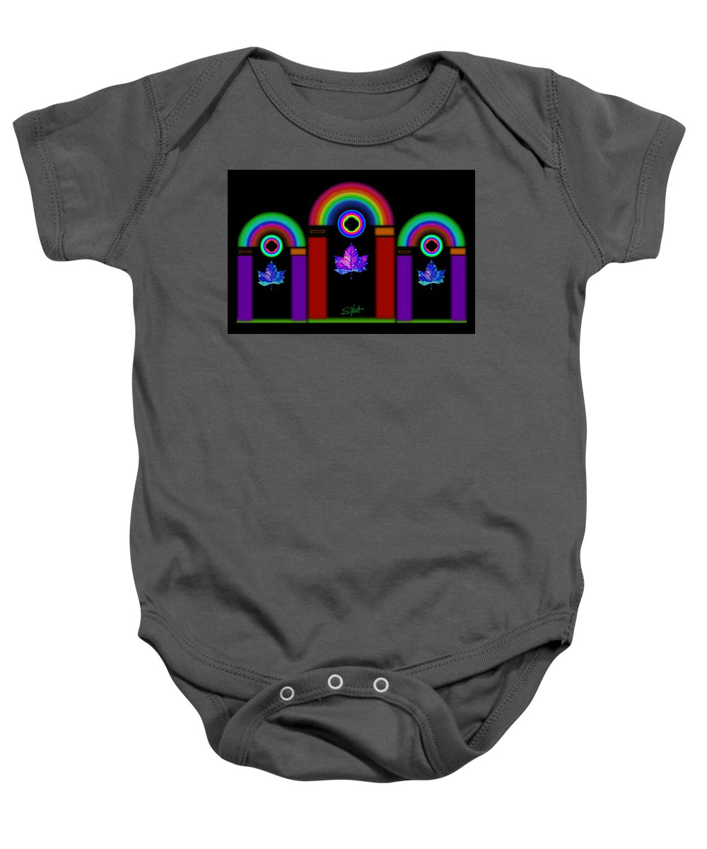 Classical Baby Onesie featuring the painting Classical Neon by Charles Stuart