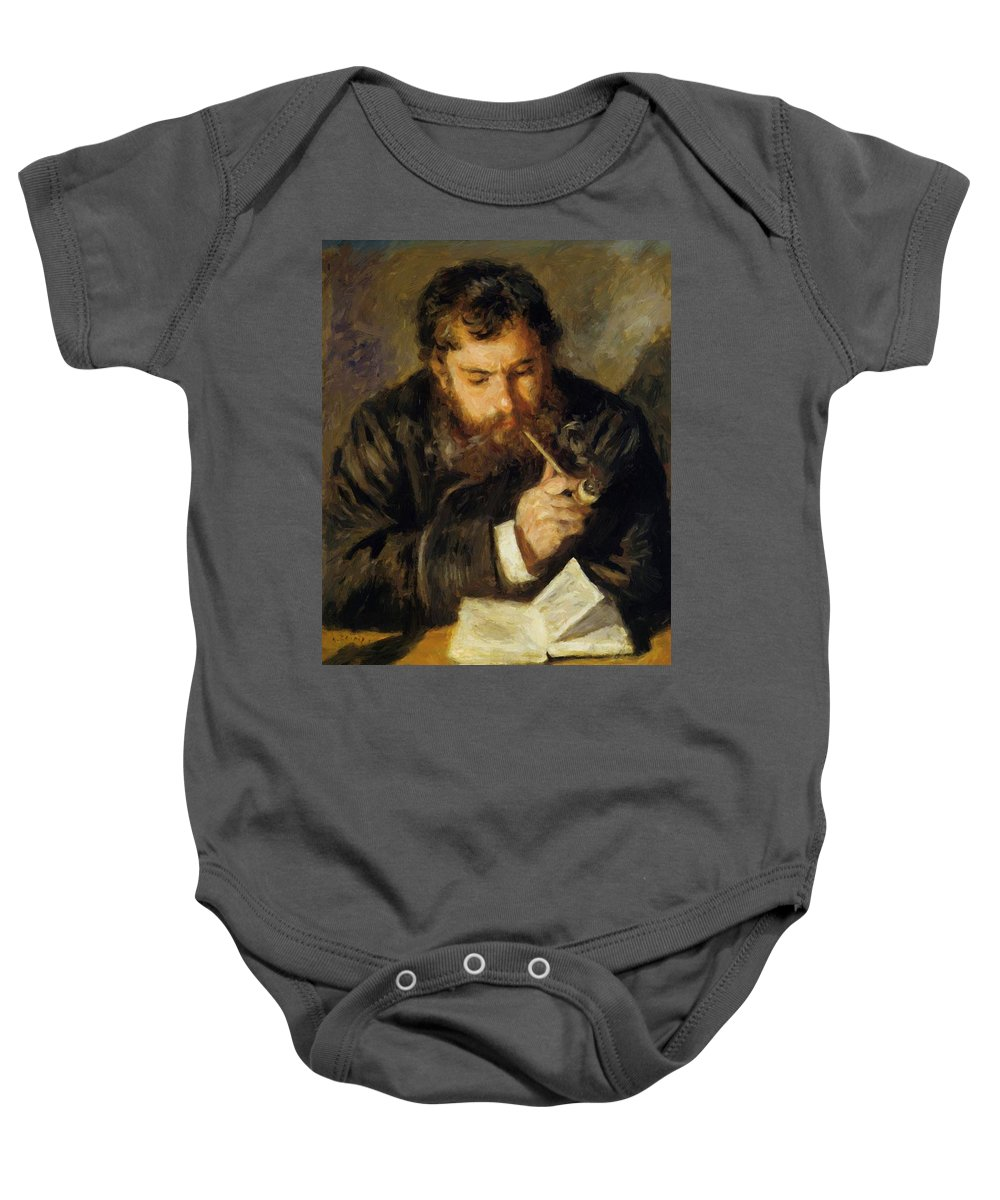 Claude Baby Onesie featuring the painting Claude Monet The Reader 1874 by Renoir PierreAuguste