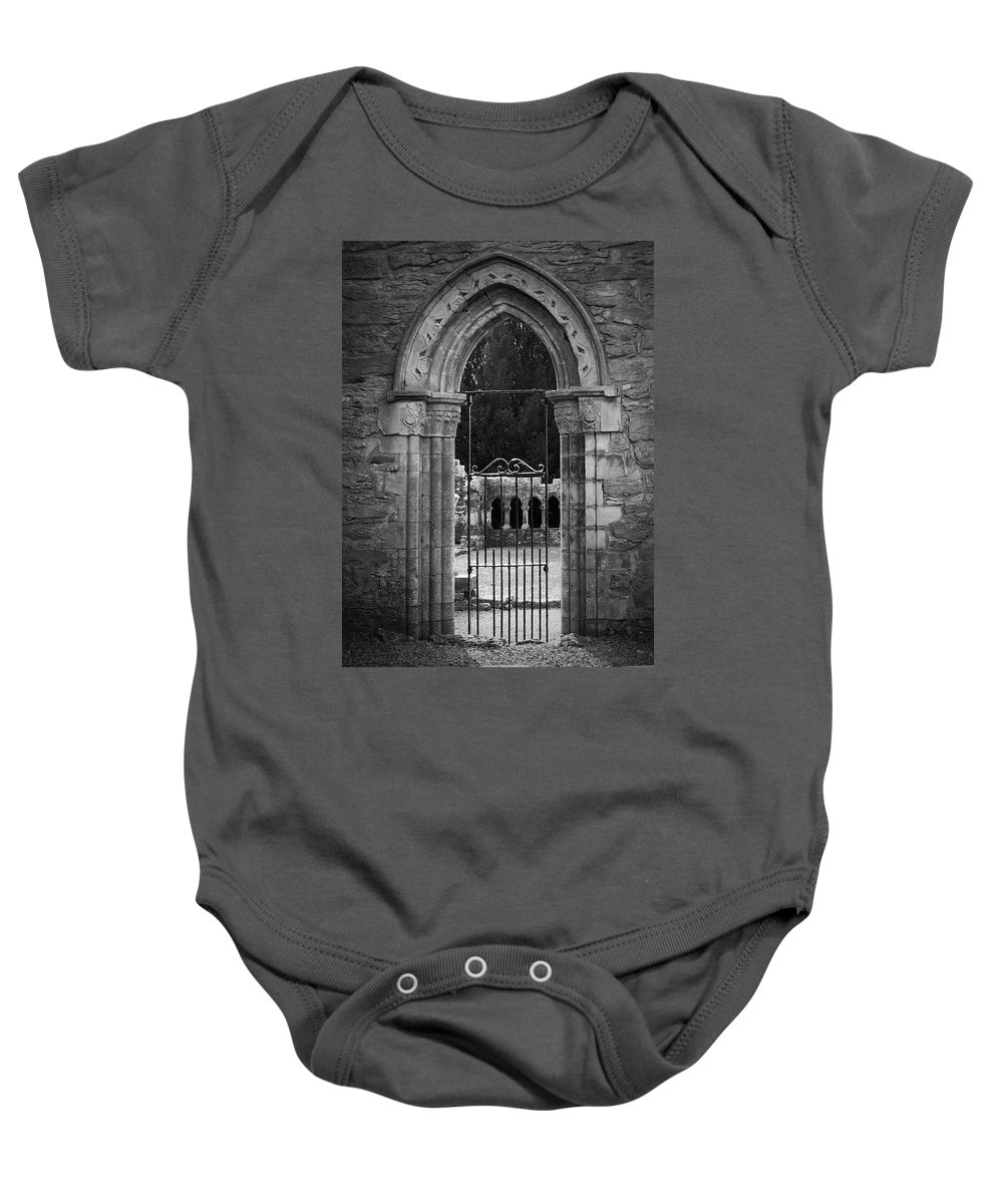 Irish Baby Onesie featuring the photograph Cloister View Cong Abbey Cong Ireland by Teresa Mucha
