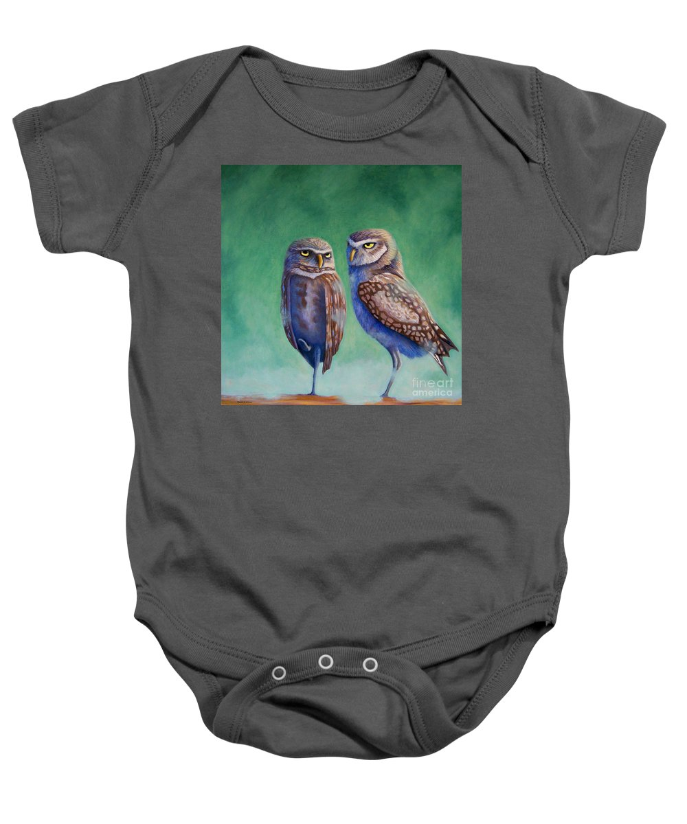 Owls Baby Onesie featuring the painting Close Encounters by Brian Commerford